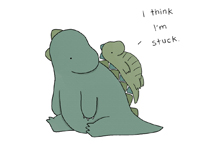 Signed Liz Climo ''Caution: Do not attempt to slide down dinosaur