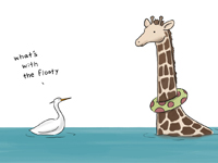 Signed Liz Climo 'Sometimes Giraffes Can't Swim' Print